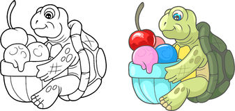 Tartaruga bonito que come o gelado delicioso ilustração stock