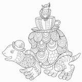 A tartaruga colorindo da garatuja anda com um pássaro Ilustração Royalty Free