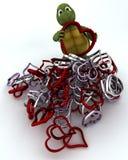 Tartaruga com corações do metal Imagem de Stock