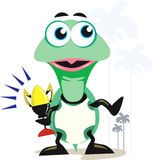Tartaruga com troféu ilustração do vetor