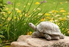 Tartaruga decorativa bonito em um ajuste do jardim Fotos de Stock