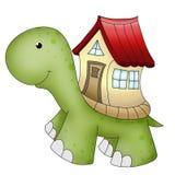 Tartaruga e casa divertenti degli animali Fotografia Stock