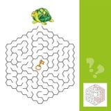 Tartaruga e a chave do ouro - jogo do labirinto para crianças com resposta Imagens de Stock Royalty Free