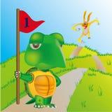 Tartaruga e coniglio Immagini Stock Libere da Diritti