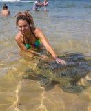Tartaruga e homem de mar verde Fotos de Stock