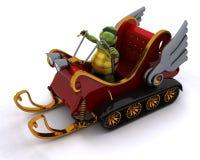 Tartaruga em um trenó do carro de neve Imagens de Stock Royalty Free