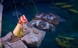 A tartaruga encontra Pinocchio e dá-lhe a chave dourada Imagens de Stock
