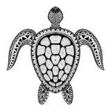 Tartaruga estilizado tribal de Zentangle Vect aquático tirado mão da garatuja Imagem de Stock Royalty Free