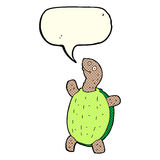 tartaruga feliz dos desenhos animados com bolha do discurso Fotos de Stock Royalty Free