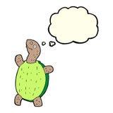 tartaruga feliz dos desenhos animados com bolha do pensamento Foto de Stock Royalty Free