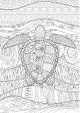 Tartaruga nadadora tirada mão com detalhes altos Imagens de Stock Royalty Free