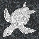 Tartaruga no estilo preto e branco ilustração stock