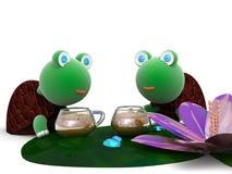 A tartaruga no feriado bebe o café Imagens de Stock Royalty Free