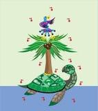 Tartaruga, palmeira e pássaro. ilustração do vetor