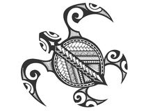 Tartaruga tribal polinésia ilustração stock