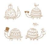 Tartarugas dos desenhos animados ajustadas Fotografia de Stock Royalty Free