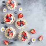 Tartas con el queso cremoso y el berrie fresco imagenes de archivo