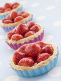 Tartas de las natillas de la fresa Foto de archivo libre de regalías