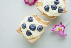 tartas de los arándanos en la tabla azul imagen de archivo