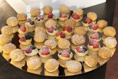 Tartas y soplos de la baya de las natillas Foto de archivo libre de regalías