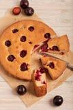 Tarte à la maison de prune sur le papier de cuisson Photo stock