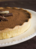 Tarte au Chocolat. Close up of Tarte au Chocolat on plate Stock Photography