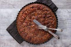 Tarte aux noix de pécan de caramel Photographie stock libre de droits