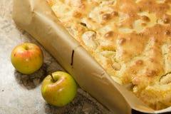 Tarte aux pommes avec deux pommes Image libre de droits