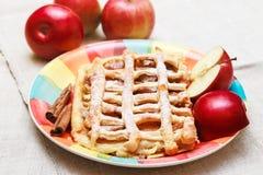 Tarte aux pommes avec la grille de pâtisserie, Sugar Powder, plat en céramique avec de la cannelle et des morceaux d'Apple frais Images libres de droits