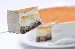 Tarte aux pommes avec la poudre de crème et de cannelle, photographie en ligne de boutique, pâtisserie, dessert doux Photos stock