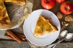 Tarte aux pommes avec les pommes, le cinnammon et les écrous Photos libres de droits