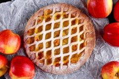 Tarte aux pommes de trellis cuite au four par maison sur le papier chiffonné Photographie stock