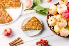 Tarte aux pommes faite maison avec de la cannelle et les pommes mûres fraîches à l'arrière-plan Image libre de droits