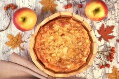 Tarte aux pommes faite maison avec des pommes, des baies et la serviette de toile Image stock