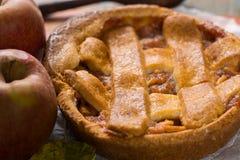 Tarte aux pommes faite maison traditionnelle avec les écrous et la cannelle a haut étroit Photographie stock libre de droits