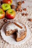 Tarte aux pommes faite maison, vue supérieure Photographie stock libre de droits