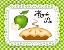 Tarte aux pommes verte, tapis d'endroit de napperon de dentelle, contrôle vert Photographie stock