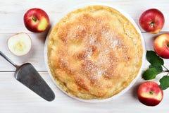 Tarte aux pommes, vue supérieure Photos stock