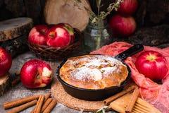 Tarte avec de la garniture d'aux pommes dans une casserole de fer Pommes mûres Photographie stock