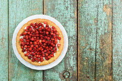 Tarte avec le fromage de fraise de forêt et blanc sauvage sur minable Image libre de droits