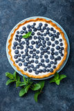 Tarte délicieuse de myrtille de dessert avec les baies fraîches et la crème fouettée, gâteau au fromage savoureux doux, tarte de  Image libre de droits