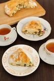 Tarte d'oignon de champignon de fromage Photographie stock libre de droits