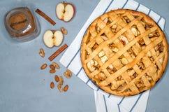 Tarte de tarte aux pommes avec des raisins secs, des écrous et la cannelle Dessert traditionnel pour le Jour de la Déclaration d' photos libres de droits