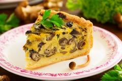 Tarte de champignon avec du fromage Photographie stock libre de droits