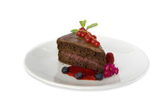 Tarte de chocolat avec de la confiture de framboise Photos stock