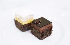 Tarte de chocolat et de citron Photographie stock