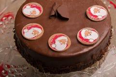 Tarte de chocolat pour Noël Photos stock