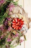 Tarte de fraise, tarte sablée de fraise, confiture de fraise portion h Photographie stock