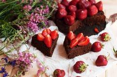 Tarte de fraise, tarte sablée de fraise, confiture de fraise portion h Images libres de droits