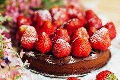 Tarte de fraise, tarte sablée de fraise, confiture de fraise portion h Photo stock